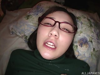 Nerdy Japanese teen Suzuhara Emiri gets cum exceeding her face with glasses