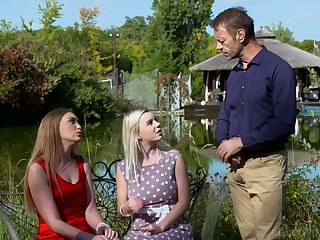 Rocco Siffredi fucks two sexually compulsive chick and cums on their bone up on