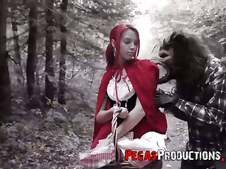 The red riding hood Brind Love gets banged by woodcutter outdoors