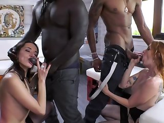 Ebony friends enticed three taking sluts into nasty sex