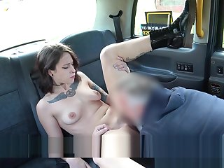 Petite pamper in boots fingered in fake taxi