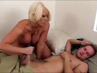 Morning Handjob From Sex-mad Big Tit Stepmom