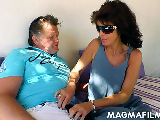 Kinky mature couple is having dirty sex fun alfresco in broad day orientation