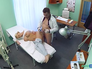 Horny patient Lilith would plead for go home until her doctor fucked her