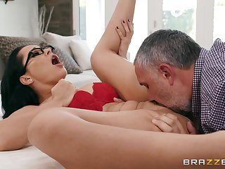 Crystal grinds her ass on his hard cock and tells him far fuck her harder