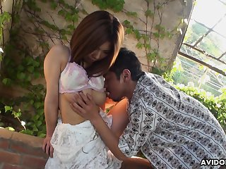 Shy Asian girl Emiko Shinoda gets her pussy toyed by one skilled bloke