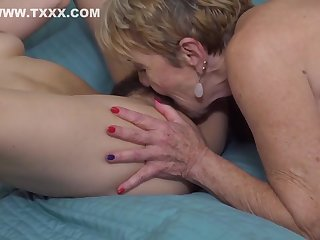 Brunette with hairy pussy is making love with a blonde lesbian and enjoying it oft-times